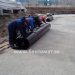 Монтаж бентонитовых матов с пленкой
